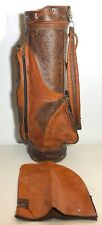 Genuine Leather Hand Crafted Mexico Aztec Mayan Indian Art Two-Tone Golf Bag
