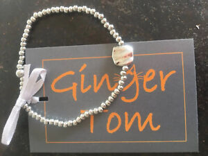 Silver Plated Bead And Square Charn Bracelet