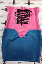 RUBBER Latex Slight Corset Skirt Size 12 UK *PS Blue/Fuchsia* Seconds