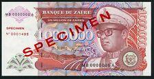 Congo Zaire 1000000 zaires 1993.03.15. Mobutu P45s Specimen UNC