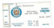 Kirk Gibson, Chet Lemon home runs ticket stub; Blue Jays at Tigers 6/29/1985