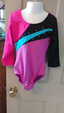 Girls 8/10 Multi Colors Tank Gymnastic Dance Leotard w/ Inserts n Studs