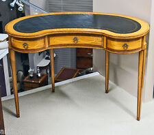 Gorgeous LIGHT SATINWOOD KIDNEY Shaped Ladies Leather Top WRITING DESK Table