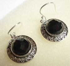 Handcrafted 925 Sterling Silver Natural Faceted Black Onyx Earrings