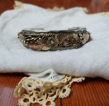 Vintage Navajo BJ Cuff Bracelet Sterling 925 Handmade with Gold flowers