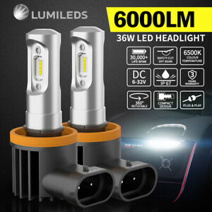2x Philips H9 6000LM LED Headlight High/Low Beam Vehicle Replace Halogen Xenon