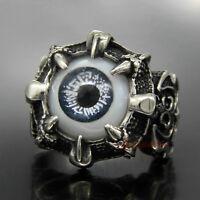 Men's Dragon Eye Claw 316L Stainless Steel Skull Biker Party Ring Black Eyeball