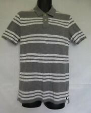 Arizona Jean Co Men's Gray/White Striped Polo Shirt Short Sleeve Cotton Sz S