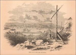 ST. JOHN, NEW BRUNSWICK, antique city view, original engraving 1855