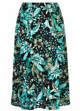 Stunning Green floral over black lined  100% COTTON pull on SKIRT 20 NEW