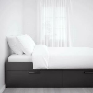 Double bed schwarz 160x200 IKEA BRIMNES with two slatted frames