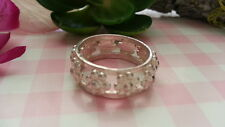 Beautiful Solid Flowers Link Band Ring Real Sterling Silver 925 *Side7.5 *73S