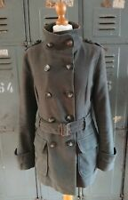 Mint Velvet Khaki Green Military Parka Jacket Mac Coat Size UK 12 Brushed Cotton