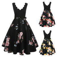 Plus Size Women Sleeveless Fashion Print Vintage Flare Party And Evening Dress