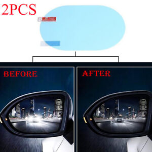 2PC Car Anti-glare Anti Fog Rainproof Rearview Mirror Trim Film Covers Accessory