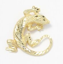 14k Yellow Gold Diamond Cut Gecko Charm Necklace Pendant