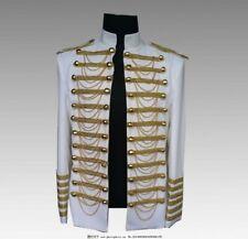 Men's Nightclub Slim Fit Blazer Jacket Punk Stand collar Chain Costumes Casual L