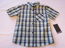 Boy's kids youth Hurley 6 881056 E33 Flash Lime plaid button up shirt boys NWT