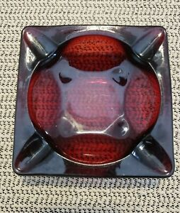 Vintage Heavy Glass Ruby Red Glass Square Ash Tray Anchor Hocking Pre-owned