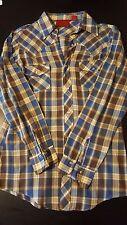 VTG 80s Western Long Sleeve Pearl Snap Pocket Shirt USA Cowboy Blue Yellow 014