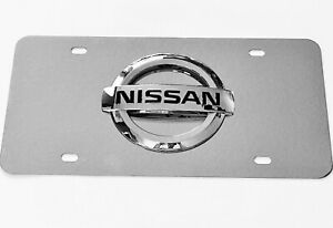 3D Nissan Logo Mirror Chrome Stainless Steel Front License Plate + Caps