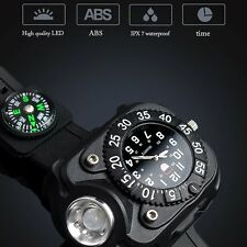 Tactical CREE LED 300Lm Dial Display Rechargeable Wrist Watch Flashlight Compass