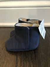 BABY GAP Girls Navy Boots Crib Shoes 6-12 Months NWT Velcro Faux Suede