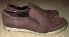 EUC Men's 7 / 7.5 Women's Size 10 / 10.5 Ecco Brown Leather Suede Slip On Shoes