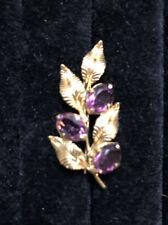 Vintage Amethyst Leaves Pin Brooch Signed WRE 1/20 12K GF