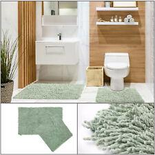 TUMBLE TWIST LOOP Sage Green Cosy 100% Cotton Bath Mat Pedestal 2-Piece Bath Set