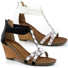 WOMENS LADIES SUMMER SANDALS STRAPPY JEWELED MID HEEL DIAMANTE WEDGES SHOES SIZE