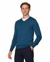 T.M.Lewin Mens Dorset Merino Wool Teal V-Neck Slim Fit Jumper