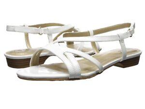 Soft Style Women's Maisy Slingback Strappy Sandals, White Patent, HSS1413-103