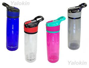 NEW Water Bottle w Automatic Opener Flip Top Straw & Loop, 24 Oz, 0.7L, BPA Free