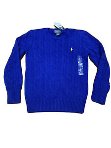 NEW Ralph Lauren Polo Big Boys Blue Cable Knit Sweater Size S(8) $55