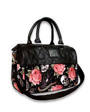 Liquor Brand Roses Tattoo Skull Punk Rockabilly Handbag Purse Round Bag B-RB-016