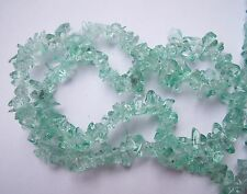 """Pale Teal mint green glass chip beads 15"""""""