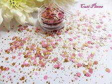 Nail Art Chunky *Strawberry Blonde* Latte Pink Mix Hexagon Glitter Spangle Pot