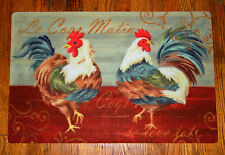 "French Country Blue ROOSTERS Floral Scroll Kitchen Rug Floor Mat 17"" x 28"""