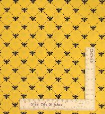 Loralie Bee Fabric - Bee Happy Diamond Yellow Loralie Harris Designs #866 - Yard