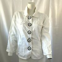 Ruby Rd Womens White Decorative Button Down Shirt w Beaded Buttons Size 10