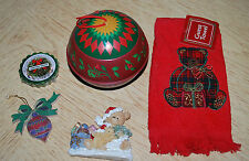 Holiday Lot Red Hand Towel Yankee Candle Tart Christmas Wreath Ornaments Magnet