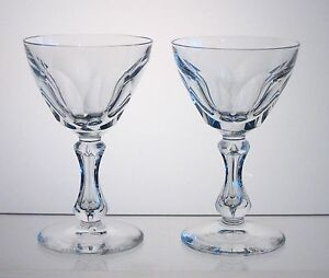 "VAL ST LAMBERT CRYSTAL Cocktail Glasses or Cordials 4 3/4"" PAIR, Bubble in Stem"