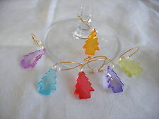 6 COLOURED CHRISTMAS TREE WINE GLASS CHARM MARKER PARTY HOOPS DECORATIONS SET
