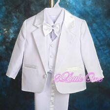 5pc Set Formal Suits Outfits Christening Wedding Boys White Size 3m-6m #022A