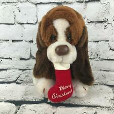 Vintage Russ Baxter The Basset Hound Dog Plush Puppy With Christmas Stocking