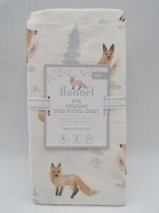 Pottery Barn Kids Baby Fox Organic Flannel Fitted Crib Sheet Multi #8006