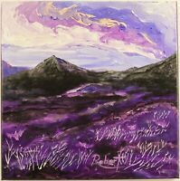 """Purple Valley with Mountains Painting Impressionism signed """"Robert"""" COA"""