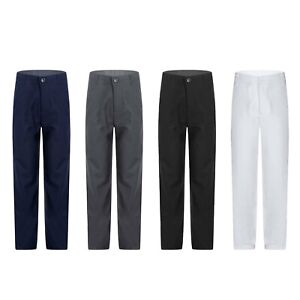 Kids Boys Side Pockets Long Pants Adjustable Waist Straight Pant School Uniform