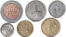 RWANDA 1, 5, 10, 20, 50, 100 FRW 6 COINS SET BIMETAL BI-METALLIC UNC